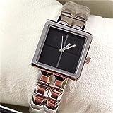 Watch Damenuhr Quarz Analoganzeige Japanische Bewegung Edelstahl Armband Casual Stahlband Schwarz Weiß Gelb Rosa,Black