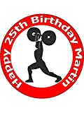 7.5 Inch Weightlifting Birthday Cake Toppers Decorations Personalised On Edible Rice Paper - [Please use the 'Contact Seller' link to send us your personalised message.]