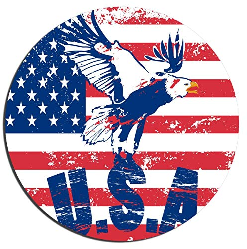Gaming Mouse Pad Bald Eagle USA American Flag Wooden Background Office Desktop Rubber Non-Slip Round Mouse Mat 9.8 X 11.8 (Desktop-flags)