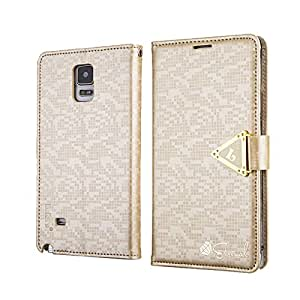 Galaxy Note 4 Case , ivencase [ Forever Style ] luxe PU Cuir Portefeuille With Stand Magnétique Flip Coque Étui Cover Pour Samsung Galaxy Note 4 Gold