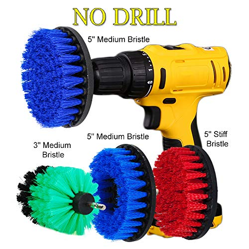 OxoxO 3inch 5inch Drill Powered Scrub Brush Attachment Kit Medium Stiff Bristle for Showers Tubs Bathrooms Carpet Kitchen Glass Carpets Bathtub Porcelain - Heavy-duty-high-lift