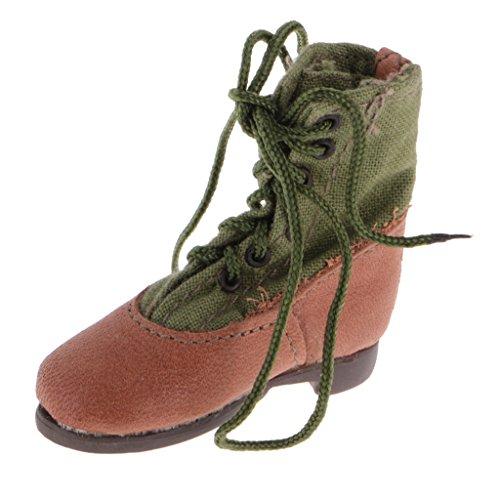 Preisvergleich Produktbild Gazechimp 1/6 Puppe Kampfstiefel Stiefel mit Schnürsenkel Zubehör für 12 Zoll Soldat Solider Action Figuren (Grün + Braun)