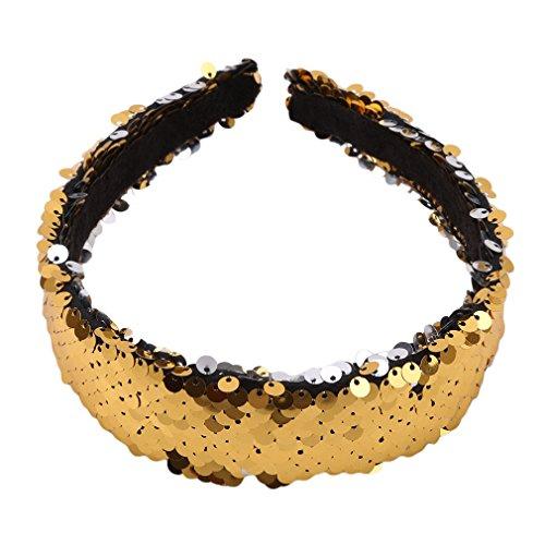 Kingus Magic Reversible Pailletten gepolsterte Stirnband Glitter Sparkly Fashion New Style Stirnband Headwear für Jugendliche Mädchen Frauen, Gold