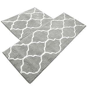 U'Artlines Küche Matte, Dekorative rutschfest Mikrofaser Fußmatte Badezimmer Mats Dusche Teppiche für Wohnzimmer Fußmatten Set 17.7x25.6+17.7x47.2 Grau
