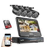 SANNCE Überwachungskamera Set Videoüberwachung mit Monitor 10,1 Zoll Display 8CH 720P DVR Recorder Überwachungssystem mit 4 x 720P Kameras für innen und außen Bereich mit 1TB Festplatte