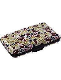 SODIAL(R) Color del metal de aluminio caso la tarjeta de credito Identificacion de negocios titular de la cartera del monedero del bolsillo de la caja - Amarillo pequena floral