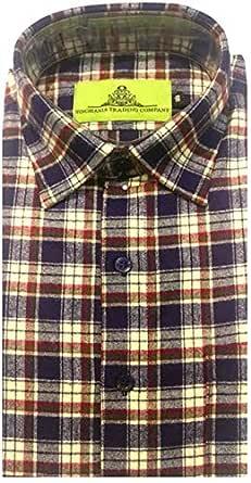 STC Men's Multicolor Woolen Checkered Cottswool Winter Wear Full Sleeves Regular Fit Formal Shirt 0122_38