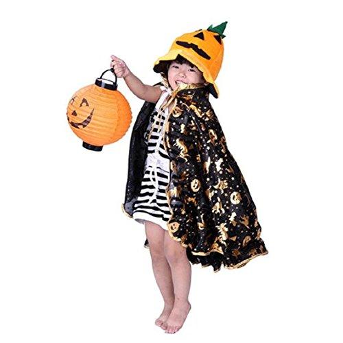 Vovotrade Halloween-Kostüm zierlichen goldenen Kürbis Schal + Kürbis-Hut Papierlaterne (Schwarz)