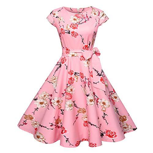 Dot Vintage Kleid Sommer Frauen Blumendruck Kurzarm Retro Robe Rockabilly Kleider Party D1 XXL