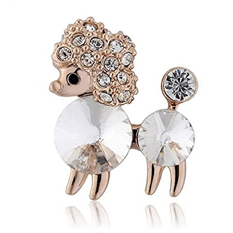 Dog Poodle Petite Pin Broche avec cristaux de Swarovski