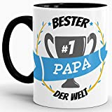 Tassendruck Kaffee-Tasse Bester Papa Innen & Henkel Schwarz/Lustig/Fun/Mug/Cup/Geschenk/Beste Qualität - 25 Jahre Erfahrung