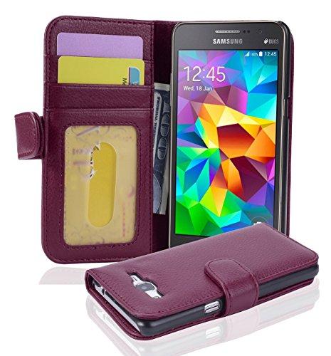 Cadorabo Custodia Libro per Samsung Galaxy Grand Prime in Lila Bordeaux - con 3 Vani di Carte e Chiusura Magnetica - Portafoglio Cover Case Wallet Book Etui Protezione
