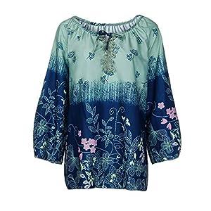 HWTOP Damen Mode Oberteil Langarmshirt Hemd T-Shirt Drucken Sweatshirt Tops Frauen Langärmelige Chiffon Shirt Aufdruck V-Ausschnitt mit Blumen Lose Unregelmäßige Saum Bluse mit Größe