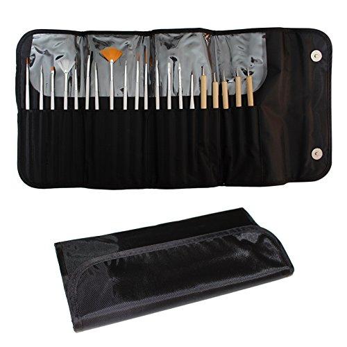 20-tlgs. Nagelkunst Design Pinsel Utensil Set von Kurtzy - Maniküre Nagel-Werkzeuge für Lack, Gel, Edelsteine und Glitzer Auftragung - 15 Verschiedene Pinsel mit 5 Nagel-Punktierwerkzeugen Nagel Maniküre Pinsel