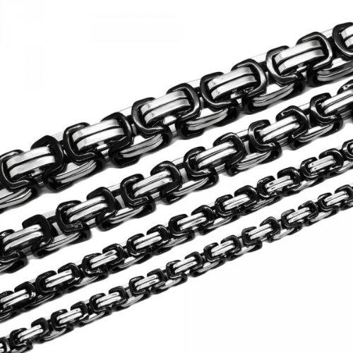 Soul-Cats® Königskette Halskette Set Armband Edelstahl gold silber schwarz lange Kette cm, Größe:9 mm;Farbe:Schwarz;Auswahl:Kette 60 cm + Armband