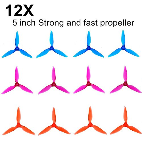 EMAX 12pcs 3-Stiletto 5 Zoll Propeller für RC FPV Racing Drone Quadcopter 2204 2205 2206 2300KV 2600KV Brushless Motors(Lila Rot Blau)