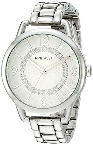 Nine West Women's NW/1835SVSB Crystal Accented Silver-Tone Bracelet Watch image