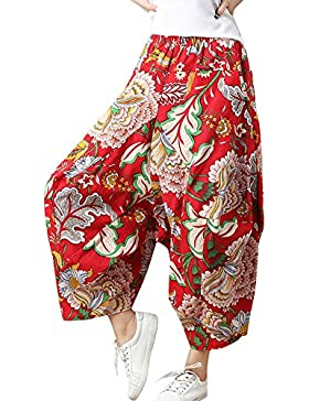 Mujer Estampados Pantalones Con Cintura Elástica Aladin Pata Ancha Pantalon Capri