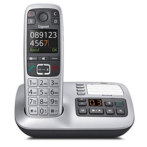 Gigaset E560A Schnurloses DECT-Telefon (mit Anrufbeantworter, ein Universal-Mobilteil mit Farbdisplay, extra großen Tasten und 4 SOS-Tasten) platin (Wand-schnurlos-telefon)
