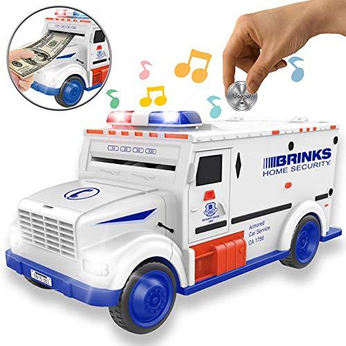 Konesky Sparschwein, Cash Truck Sparbüchse mit Passwort Mini ATM Cash Coin Bank Pot Lernspielzeug für Kinder Erwachsene (Weiß und blau) -