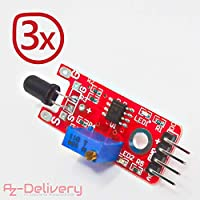 AZDelivery ⭐⭐⭐⭐⭐ 35 in 1 Sensori di moduli e zubehoerkit Arduino per Arduino e altri Microcontroller 3x Feuerdetektor KY-026