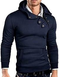 Grin&Bear 3 boutons oblique fermeture éclair sweat à capuche veste sweat shirt homme, GEC00404