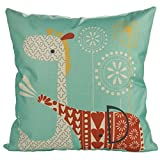 Luxbon Kissenbezug Kissenhülle Lendenkissen Bettkissen Pillowcase Dekokissen für Hause Zimmer Sofa Auto 45 x 45 cm Cartoon Giraffe und Elefant