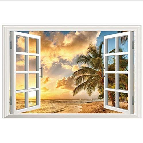 (Haipeiy Fensteransicht-Wandaufkleber des Effektes 3D Meerblick Gefälschte Fenster Vinyl Aufkleber Strand Palme Sonnenuntergang Landschaft Wandkunst Wandhauptdekoration Perfekte Tapete 60X90 cm)