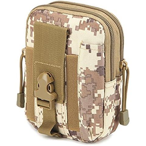 Resistentes al desgaste de la bolsa Tactical - iParaAiluRy deporte al aire libre ligero de alta capacidad de nylon impermeable Molle cremallera paquete de utilidades bolso de la cintura de los pequeños objetos