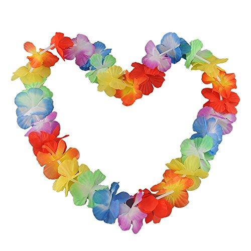 Kicode Halskette Girlanden Luau Blume Hawaii Leis Tropical Für Geburtstags-Hochzeits-Party Luau Strand-Party Packung mit 10 Stück