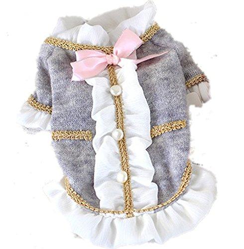 LooBoo Kleidung Mignon für kleine Hunde Welpen PRINCESS Kleid für Haustiere Kostüm Hunde der geringen Größe Grau/Rot