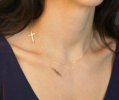 aukmla Halsketten für Frauen Retro Kreuz einfach Legierung bar Halskette Halsbänder New Fashion (Gothic Make Up Männer)