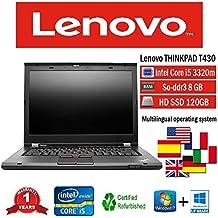 NOTEBOOK RICONDIZIONATO LENOVO T430 INTEL i5 3320M/8GB/128GB SSD/DVD/WIN 10 PRO (Ricondizionato Certificato)