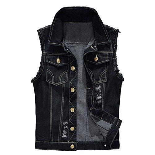 MISSMAOM Uomo Giacca Denim Jeans Denim Panciotto Senza Maniche della Maglia Gilet in Jeans Nero XS