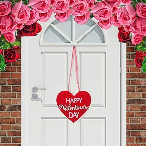 Yimosecoxiang Raffiniertes Vlies Floral Happy Valentinstag Herz Anhänger Hängeschild Party Decor 1#
