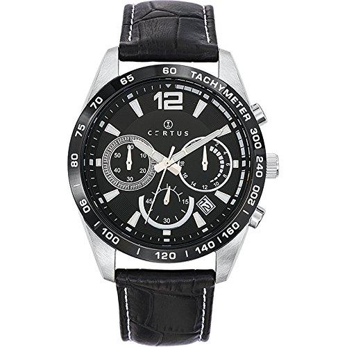 Certus 613165 - Reloj de pulsera hombre, piel, color negro