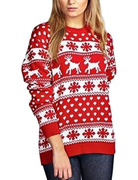 Janisramone Mujeres Señoras Navidad Reno Copo de Nieve Novedad De Punto Unisexo Fairisle Navidad Saltador Suéter...