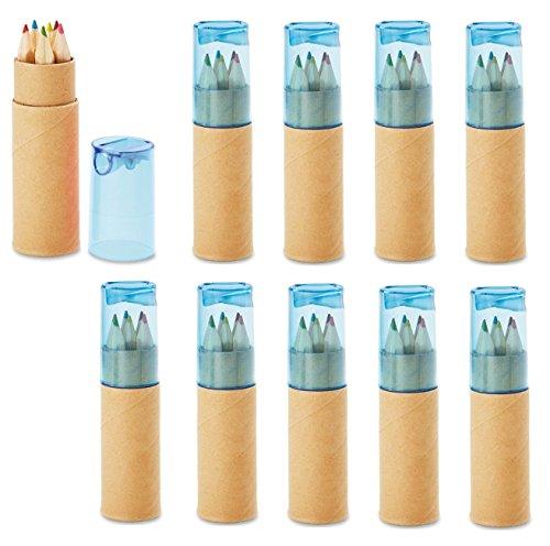 10 Buntstifte Sets mit Spitzer für Kinderparty Hochzeit Restaurant Geschenk - 6 fröhliche Farben...