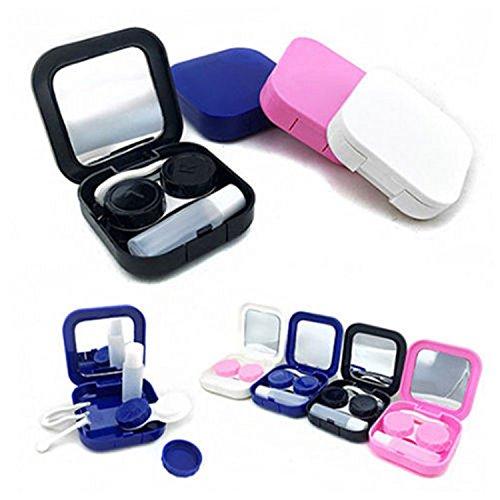 Distinct® 2 Sätze Kontaktlinsenbehälter mit Spiegel Taschengröße Travel Kit Box zufällige Farbe (Linsenbehälter Spiegel)