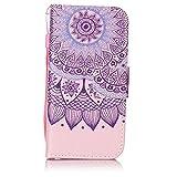 Coque iPhone 5C , CaseLover Motif Peint Mode Chrome Miroir Doré Fleurs PU Cuir Étui...