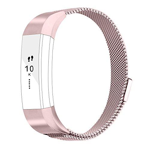 Fitbit Alta HR Armband, Vancle Milanese Edelstahl Uhrenarmband Mailänder Magnetschleife Edelstahlband Ersatz Armband Für Fitbit Alta HR und Alta (Rose Rosa, Small)