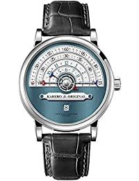 karebo semi-circle ultrafino de los hombres Tiempo escala mecánica reloj de pulsera de negocios con eta2824pulsera movimiento automtatic para hombre–azul