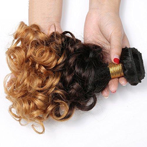 StarHair 8A Brasilianisch Virgin Mensch Haarverlängerung Unverarbeitet 3 Ton Ombre Federnd Gelockt Echthaar Tressen Mensch Haar Weben 1 Bündeln 100g(Farbe:T1B/30), 10