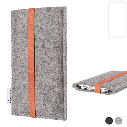 flat.design Handy Hülle Coimbra für Leagoo KIICA Power - Schutz Case Tasche Filz Made in Germany hellgrau orange