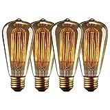 4 x Vintage Glühbirne E27, 40W, Edison Lampe, Retro Lampe, dimmbar, DIY für Haushalt, dekorative Beleuchtung