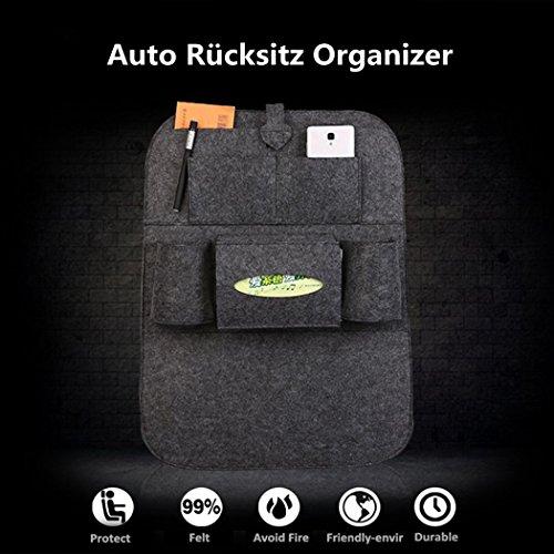 Rückenlehnenschutz, Auto Rücksitz Organizer Wolle Filz Sitz Tasche Schutz Halterung für Flaschen, Taschentücher Box, Spielzeuge (schwarz) -