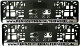 Satz (2 Stück) Kennzeichenhalter - KURZ (46 cm) - CHROM LEISTE - MIT INDIVIDUELLEM WUNSCHTEXT - VERSANDKOSTENFREI! - PREMIUMQUALITÄT - Nummernschildhalter Kennzeichenträger Nummernschildträger Kennzeichenverstärker Nummernschildverstärker Beschriftung Werbung Spruch Text personalisiert