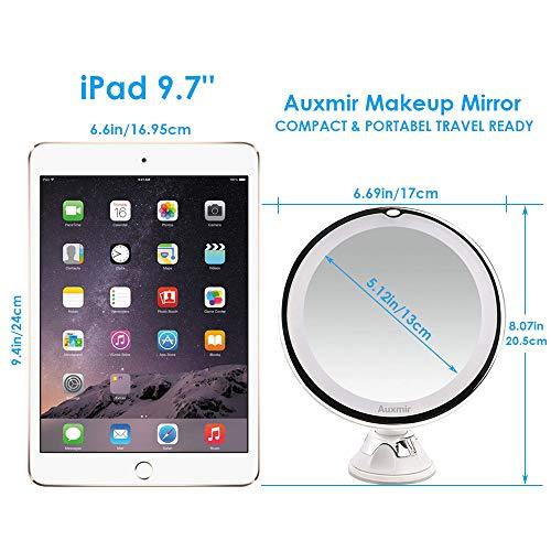 Auxent Kosmetikspiegel LED Beleuchtet mit 10x Vergrößerung und Saugnapf, 360° Schwenkbar, Make-Up-Spiegel Schminkspiegel mit Blendfreier Beleuchtung für Zuhause und Unterwegs - 6