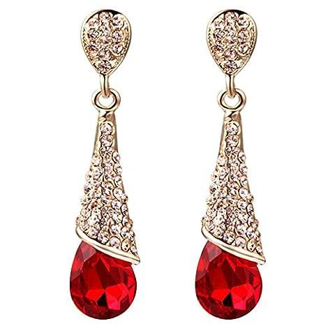 Yazilind 18K Gold Plated Women Vogue Tear Drop Red Cubic Zirconia Rhinestone Dangel Earrings Gift