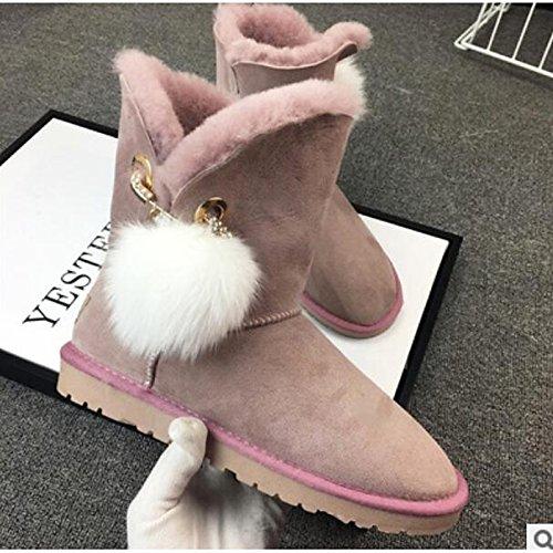 Hsxz Femmes Nappa Cuir Chaussures Automne Hiver Confort Bottes Plat Bout Rond Bottines / Bottines Casual Wear Rose Armée Vert Rose